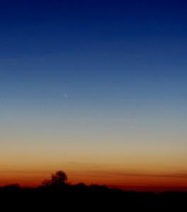 """15 mars 2013, Matthieu BACHSCHMIDT. je n'ai pas vu la comète à l'oeil nu et aux jumelles, je pensais qu'elle était trop basse et cachée derrière l'horizon (je n'ai pas eut le temps de préparer sérieusement l'observation), j'ai quand même décidé de faire des photos """"à l'aveugle"""", on ne sais jamais, j'aurais au moins de belles photos crépusculaires...., j'ai quitté mon champ déçu et les chaussures pleines de boue... Que ne fût pas ma surprise en rentrant de voir que la comète est bien là sur les photos... il faut toujours garder espoir !  Pentax K5II 55mm, pose de 3s."""