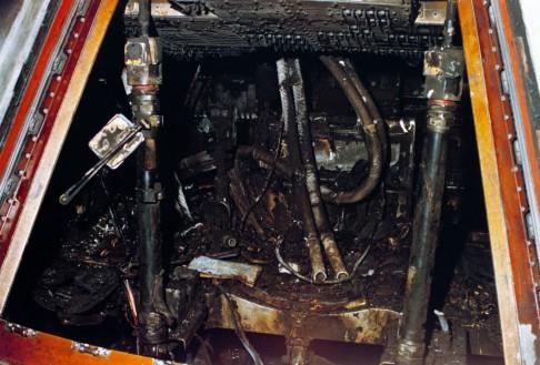 Le vaisseau Apollo 1 après l'incendie