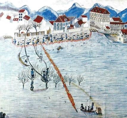 En 1790, l'artificier Glück parvient à sauver des malheureux bloqués par les crues de l'Ill à Mulhouse en tirant un filin grâce à une fusée.