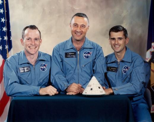 L'équipage malheureux d'Apollo 1de gauche à droite :Ed Withe, Gus Grissom, Roger Chaffee
