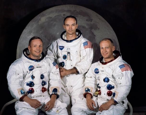"""L'équipage d'Apollo 11De gauche à droite :Neil Armstrong, Michael Collins, Edwin """"Buzz"""" Aldrin"""